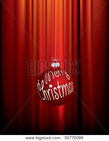 vector illustration with merry christmas ball
