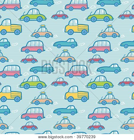 Colorful cartoon cars seamless pattern background