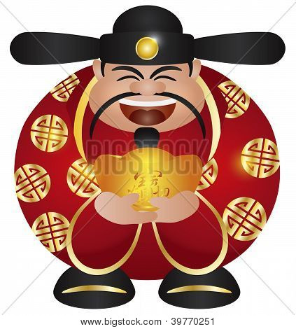 Chinese Prosperity Money God With Gold Bar