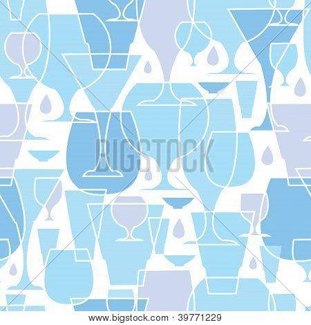 Water glasses line art seamless pattern background