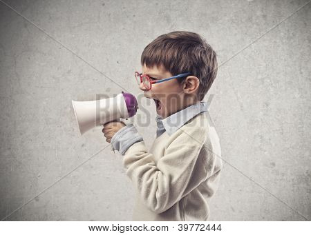 Child screaming through a megaphone
