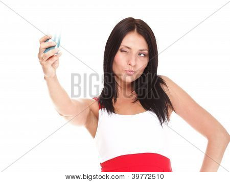 Young Woman Takes Photos Using Her Mobile Phone