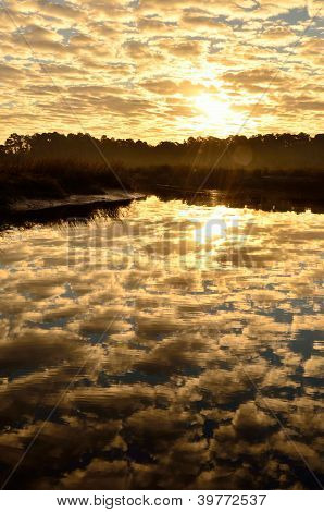 Cloudy sunrise over Borrell Creek
