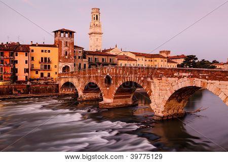 View Of Adige River And Saint Peter Bridge In Verona, Veneto, Italy