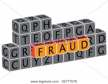 Illustration Of Word Fraud Using Alphabet Cubes. The Graphic Can Represent Various Scams, False Fron