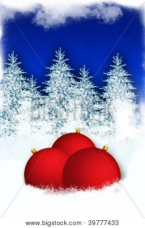 Winter background with red globes