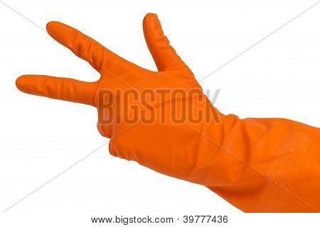 Hand In Orange Glove Count To Three