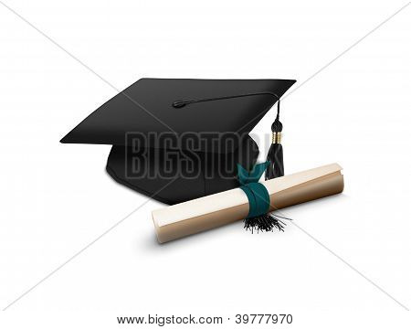 Mortarboard and scroll