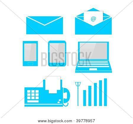 Telecom & Computer soft blue icon