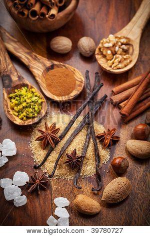 Aromatic food ingredients for baking Christmas cookies