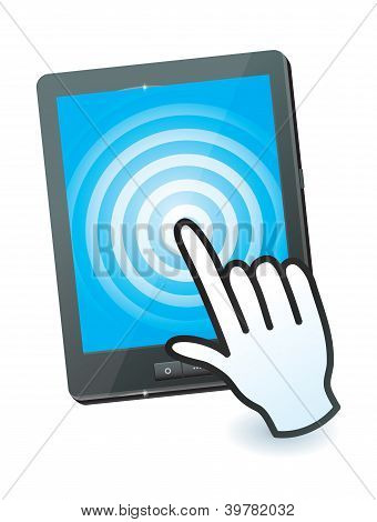 Hand Cursor And Tablet Pc With Touchscreen