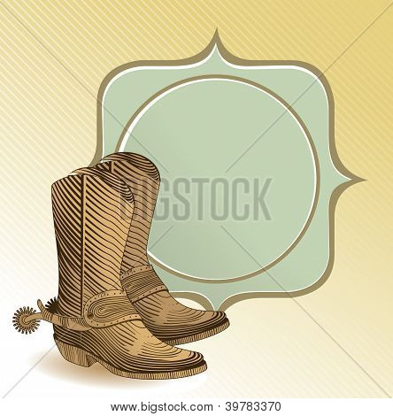Cowboy Boots In Engraving Style
