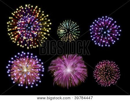Happy New Year Fireworks Design Set