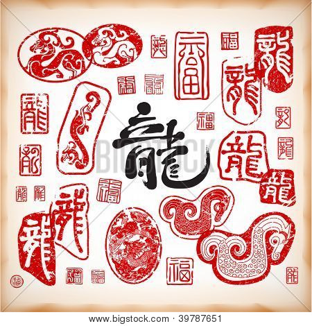 Dragon Stamps Element for Chinese New Year