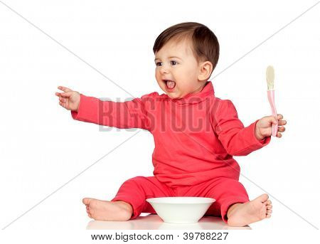 Hungry baby girl yelling for food isolated on white background