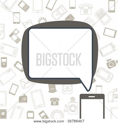 Abstract speech cloud and communication gadget icons
