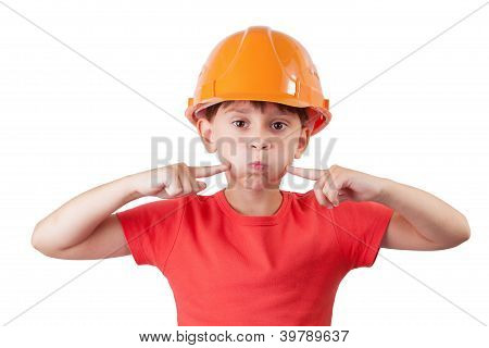 Girl In An Helmet Presses His Fingers On The Cheeks