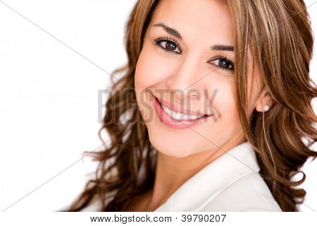 Friendly business woman smiling - isolated over a white background