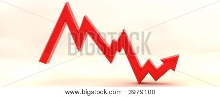 3D Stockmarket Graph Illustration