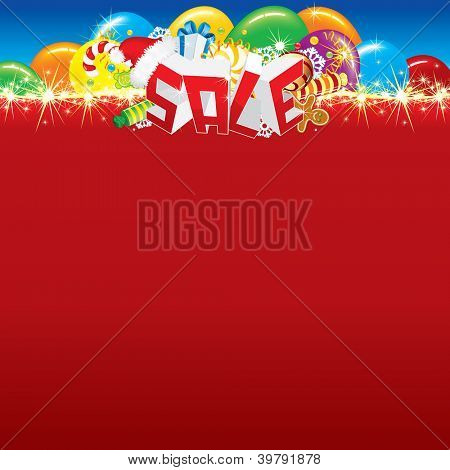 Word Sale, Christmas Symbols, Decorations with the Blank Background, for Your Text, Design or Placard.