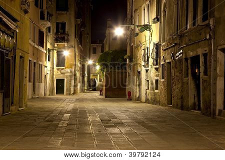 A street in venice in the night