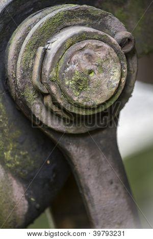 Large metal pin, closeup