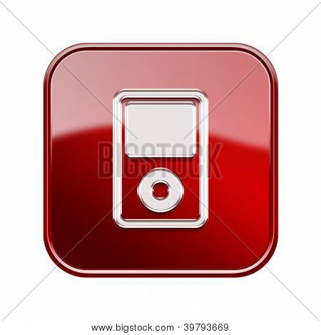 Mp3 Player Glossy Red, Isolated On White Background