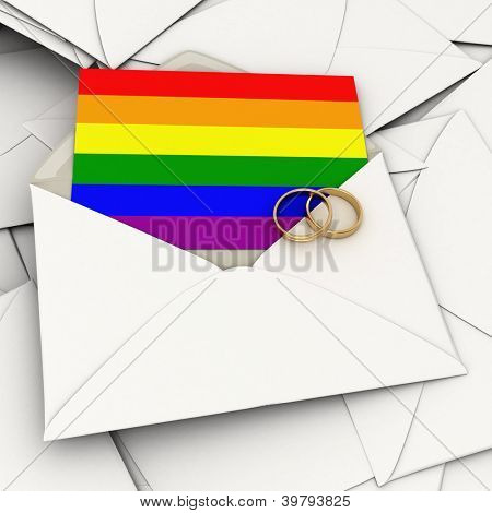 Envelope with the rainbow flag  card and two wedding rings