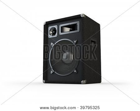 Concert speakers on white background. Computer generated image.