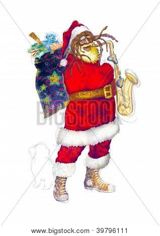 Santa playing the saxophone