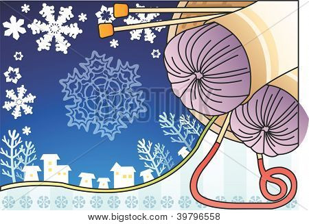 Two Yarn Skeins - cute purple knitting wool and needle with beautiful white snow field and ice tree on happy traditional holiday on blue sky and stripe pattern background : vector illustration