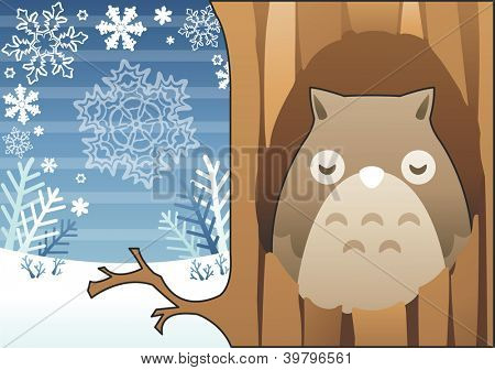 Romantic Winter Landscape - cute lovely young bird sleeping with beautiful white snow and brown tree in isolated mountain on blue stripe pattern background : vector illustration
