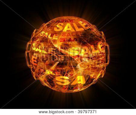 bola de fuego con texto de venta en él