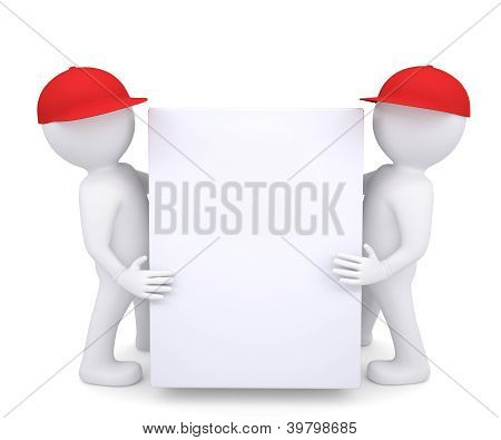 Two 3D White Man In A Red Hat Holding A White Box