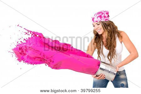 Mujer salpicaduras de pintura Rosa - aislada sobre un fondo blanco