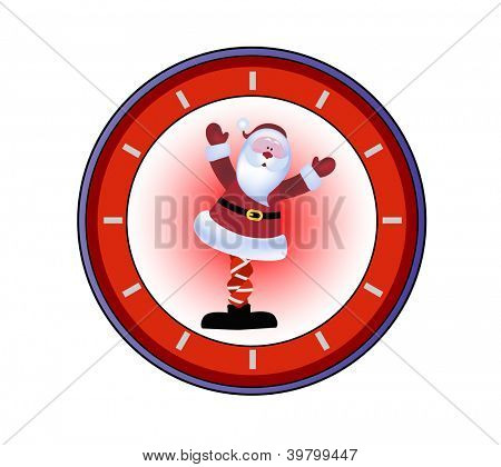Santa with his knickers in a knot - clock behind
