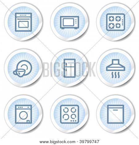 Home appliances web icons, light blue stickers