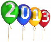 foto of happy new year 2013  - New 2013 Year party balloons decoration banner multicolor - JPG