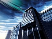 Building With Gray Clouds poster