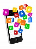 stock photo of generic  - Generic phone and a bunch of generic icons of different applications - JPG