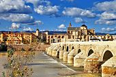 landmarks of Spain - Cordoba. Andalusia. view with mosque and bridge poster