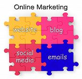 Marketing Online Puzzle muestra sitios web y Blogs