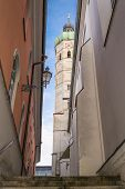 Narrow Alley With View To A Steeple