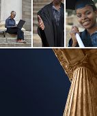 stock photo of academia  - Collage of classic greek style university college eduction law court or politics building pillar with African American graduate - JPG