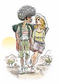 Young couple trekking