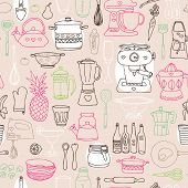 I love cooking seamless kitchen dish and kitchenware background pattern in vector