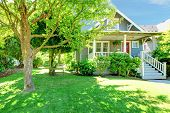 foto of tree trim  - Grey old American house with summer green landscape - JPG