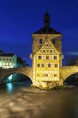 picture of regnitz  - old Rathaus in Bamberg Germany at night - JPG