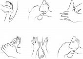 stock photo of reflexology  - Reflexology techniques at the feet as illustration - JPG