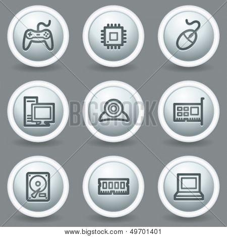Computer web icons, circle grey matt buttons